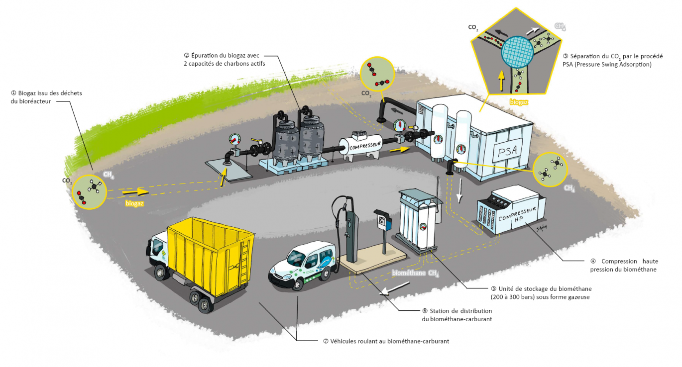 Schéma de fonctionnement de la station biométhane-carburant de Trifyl - Illustration S. Anfray